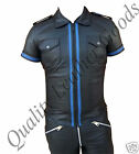 GENUINE LEATHER MILITARY POLICE UNIFORM SHIRT FRONT ZIP CONTRAST PARTY BLUF 7FfN