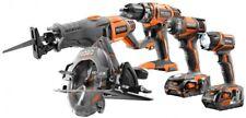 Power Tool Combo Kit Drill Impact Driver Circular Saw Reciprocating Saw 18 Volt