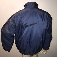 SUPER RARE Vintage Nike White Tag Swoosh Large Puffer Jacket 90s Blue Black