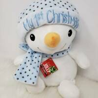 Baby Boy's First Christmas Plush Snowman / Bear Blue Hat and Scarf New with Tags