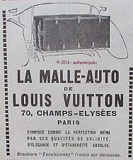 PUBLICITE LOUIS VUITTON LA MALLE AUTO BAGAGERIE DE LUXE DE 1924 FRENCH AD PUB