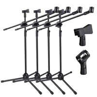 4pcs Microphone Boom Stand Dual Mic Clip Folding Arm Tripod Height Adjust Holder