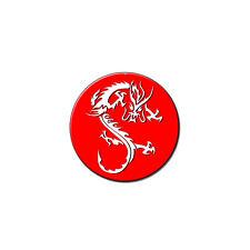 Dragon White On Red - Metal Lapel Hat Pin Tie Tack Pinback