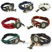 Womens Retro Vintage Weave Wrap Around Leather Bracelet Owl Quartz Wrist Watch