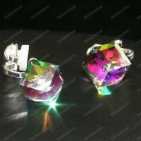 CLIP ON CRYSTAL CUBE EARRINGS faceted glass MULTI COLOUR purple green SILVER PLT