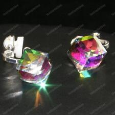 A clip cristallo Orecchini cubo in vetro con faccette Multi Colore Viola Verde Argento PLT