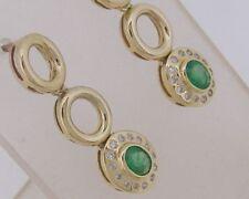E103 - Genuine 9ct Gold NATURAL Emerald & DIAMOND Drop Stud Earrings Journey