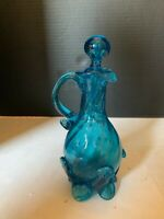 Vintage Mid Century Hand Blown Blue Art Glass Cruet
