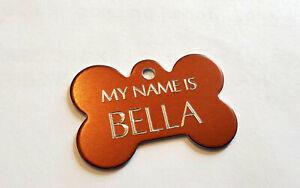 CUSTOM ENGRAVED PET TAG BROWN BONE SHAPE 2 SIDE DOG NAME PERSONALIZED ID TAGS