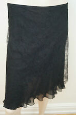 ANNA MOLINARI Black Floral Lace Overlay Short Evening Skirt UK12 IT44