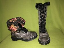 Slate Grey Dr.Martens Boots with Floral Lining 7 38