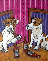 Jack Russell Terrier Beer 8x10  art PRINT animals impressionism gift new