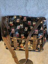 Miss Lulu Canvas Oil Cloth Material Owl Pattern Design Satchel Saddle Bag