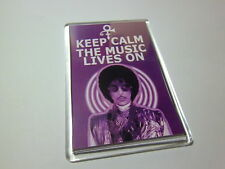 PRINCE - KEEP CALM THE MUSIC LIVES ON- LARGE FRIDGE MAGNET- 89mm X 59mm
