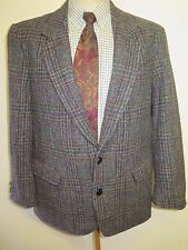 "Genuine Harris Tweed men's grey check blazer Jacket 44"" R Euro 54 R"