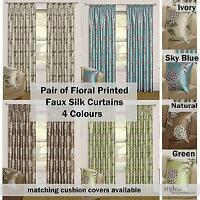 Pair Fully Lined Floral Print Faux Silk Curtains - 4 Colours & 9 Sizes