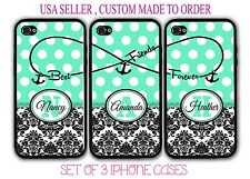 PERSONALIZED MINT POLKA DOTS DAMASK BFF Best Friends 3 Cases For iPhone X 8 7 6S