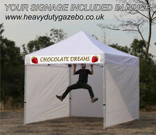 3MT COLOURED GAZEBO extra strong Aluminium Market Stall Tent + INCLUDES SIGN