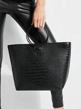 NWT GUESS Keaton O ring Satchel Carryall Tote Handbag Purse Black Croc embossed