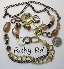 "Medallions, Browns,Acrylic Beads 31"" Signed Ruby Rd Necklace, Guilloche/Stippled"