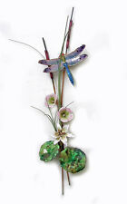 WALL ART - BLUE DRAGONFLY WITH LILY METAL WALL SCULPTURE - WALL DECOR