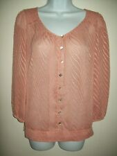 the limited womens top size m pink bohemian semi sheer blouse boho 3/4 sleeve
