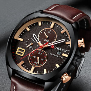 Gents Luxury Watches Mens Real Sub-dial Chronograph Genuine Leather Quartz Watch