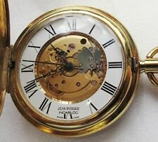 "POCKET WATCH, NEW&MINT, GOLD COLOR ""JEAN PIERRE"", WIND UP. FULL HUNTER & WORKING"