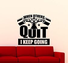 Gym Wall Decal Fitness Quote Bodybuilding Sport Vinyl Sticker Decor Mural 132gy