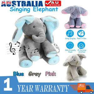 Peek-a-boo Soft Elephant Doll Baby Singing Plush Toy Stuffed Animated Kids Gift