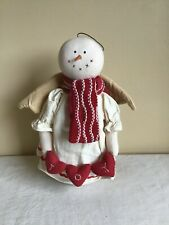 "Primitive Style Snowman Angel Joy Banner Christmas Home Decor Plush 11"" Tall"