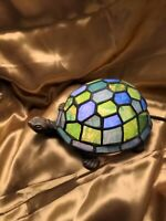 🎁 Tiffany Style Stained Glass Brass Turtle Accent Table Lamp Night Light