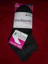 4 Pair Med Peds Diabetic Quarter Socks Medium 7-10 Black Made in the USA