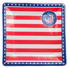 8 USA AMERICAN SQUARE 25CM PAPER PARTY PLATES