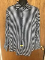 Vintage ARMANI COLLEZIONI COTTON BLEND Mens Shirt XL BLUE STRIPED - TUNSIA///G79