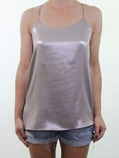 BNWOT RIVER ISLAND silver grey metallic shimmer evening strappy vest top size 8