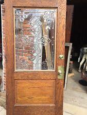 "An One Antique Beveled Glass Oak Entrance Door 40"" X 81.5"""