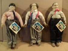 "Three Stooges Lot of 3 14"" Dolls w Tags 1988 Norman Maurer. Moe, Larry, Curly"