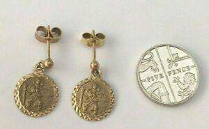 Small Pair Vintage 9K Carat Rose Gold St Christopher Earrings 1977