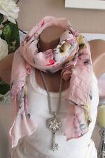 PAÑUELO DE SEDA bufanda rosa-mehrfarbig Estampado Flores Algodón Elegante