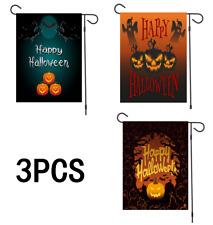3Pcs Happy Halloween pumpkin Garden Flag Bats Stars Banner