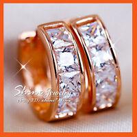 9K ROSE GOLD FILLED SQUARE HUGGIES HOOP LADIES SIMULATED DIAMOND SOLID EARRINGS