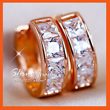 9K ROSE GOLD FILLED SQUARE HUGGIES HOOP LADIES SIMULATED DIAMOND SOLID EARRINGS