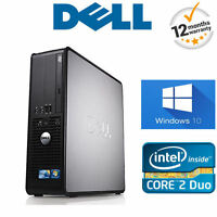 schnell Windows 10 Dell Core 2 Duo PC Computer Desktop Tower 4GB RAM 250GB HDD