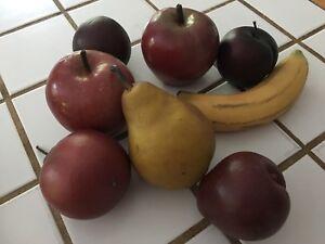 Artificial Fruit Rubber Plastic 8 Pcs Realistic Life Size Retro Vintage 50's