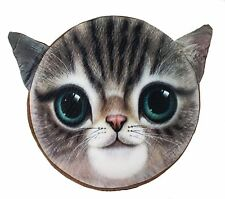 3D Brown Cat Face Memory Foam Cushion Pillow Doll Seat Pad Home Decor US Seller
