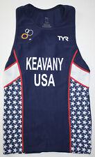 Tyr Men's Large Navy Blue Red White Tank Triathlon Itu Team Usa Keavany Usa Made