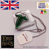 UK NEW LOTR Lord Of The Rings Hobbit Frodo Legolas ELVEN LEAF BROOCH PIN & CHAIN
