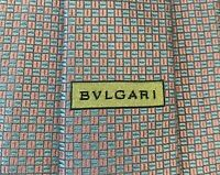 BVLGARI BULGARI mens Pink Blue Silk Necktie Tie