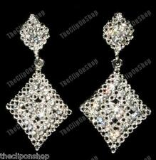CLIP ON filigree CRYSTAL silver rhinestone DROP EARRINGS vintage antique style